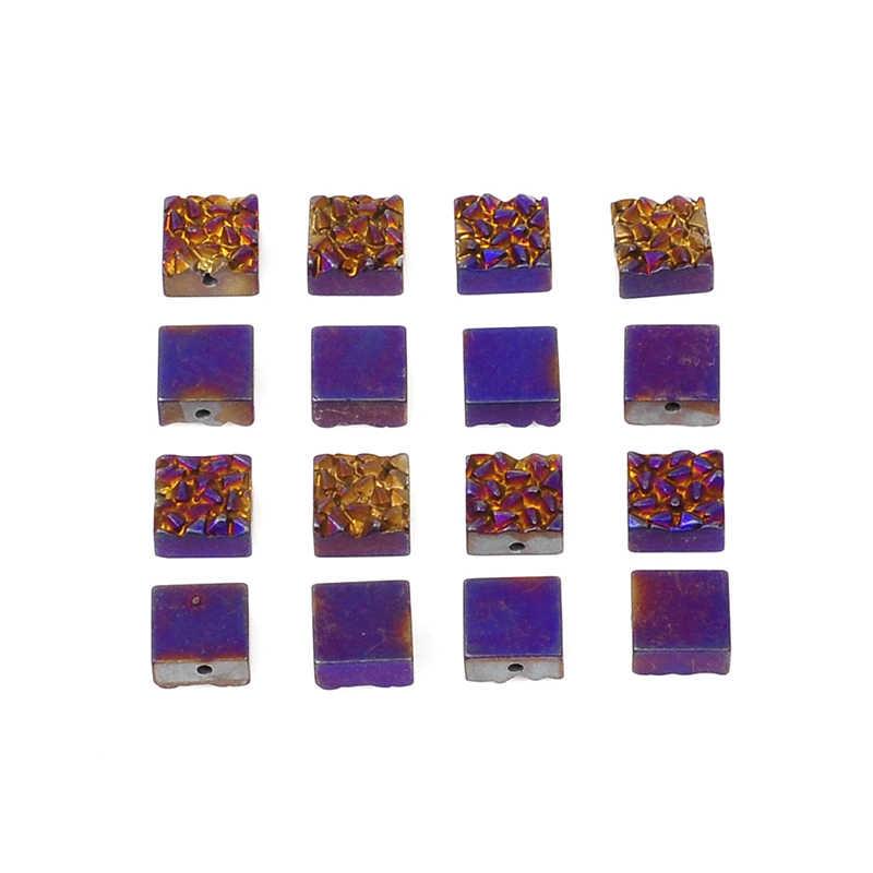 10 kolorów 8/10mm kamień naturalny mat hematyt koraliki kwadratowy kształt Druzy koraliki do naszyjnik DIY bransoletka akcesoria do wyrobu biżuterii