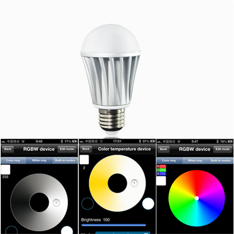 Bluetooth LED Bulb 7.5W E27 RGBW Bluetooth 4.0 Smart LED Light Color Change Dimmable by IOS / Android APP. change translated by howard goldblatt