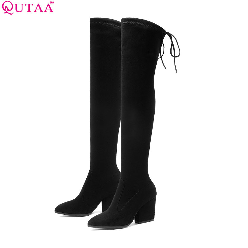 QUTAA 2019 Women Shoes Over The Knee High Boots Pointed Toe Autumn Winter Shoes Women Hoof Heels Flock Women Boots Size 34-43 memunia over the knee boots for women autumn winter zip high heels shoes fashion womens boots pointed toe big size 34 43