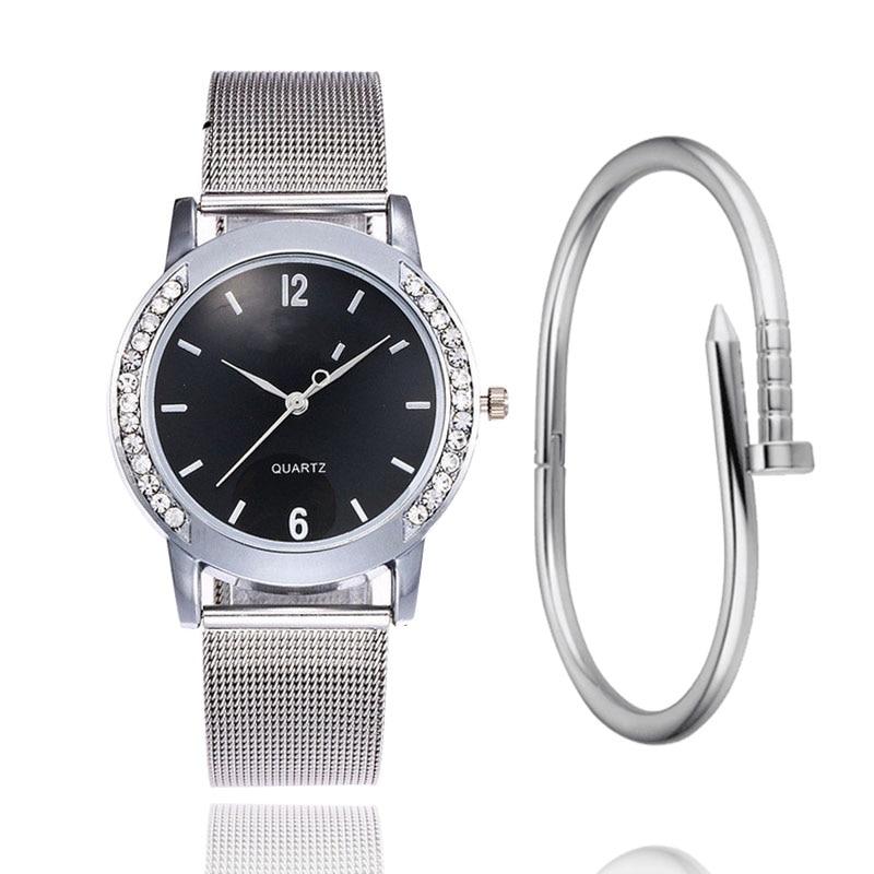 Luxury Geneva Brand Women Gold Stainless Steel Quartz Watch Military Crystal Casual Wrist Watches Relogio Feminino Montre Homme