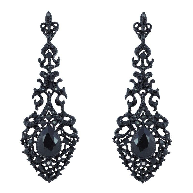 New Black Crystal Earrings for Women Big Drop Long ...