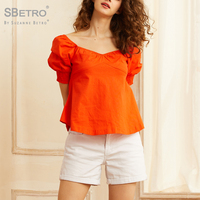 Sbetro Women's Neon Orange Sweetheart Neck Shirred Top Blouse Short Puff Sleeve 2019 Fashion Bohemia Sex Pullovers Top