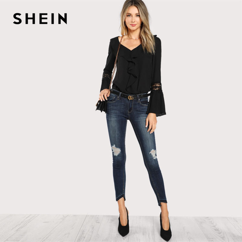 d4ffa0ab64 SHEIN Black Ruffle Neck Lace Insert Pleated Casual Top Women V Neck Flare  Sleeve Plain Blouse 2018 Spring Elegant Blouse-in Blouses & Shirts from  Women's ...