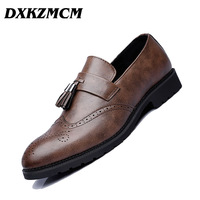 DXKZMCM Men Formal Men's Business Dress Brogue Shoes For Wedding Party Microfiber Leather Oxford Shoes