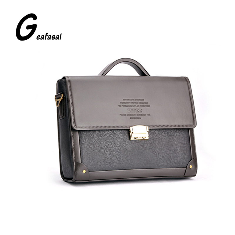 купить brand designers brown good PU Leather Man's Business computer laptop Briefcase Shoulder bag handbag Zefer for men Male new онлайн