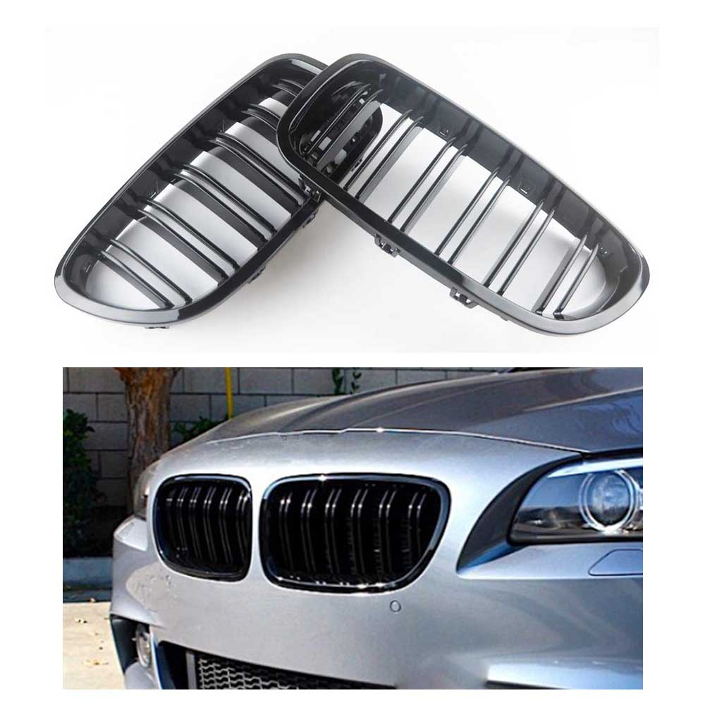 A Pair 5 Series F10 Glossy Black Dual Slat M5 Style Front Kidney Grille Grill For BMW F10 520i 523i 525i 530i 535i 2010+|Racing Grills| |  - title=