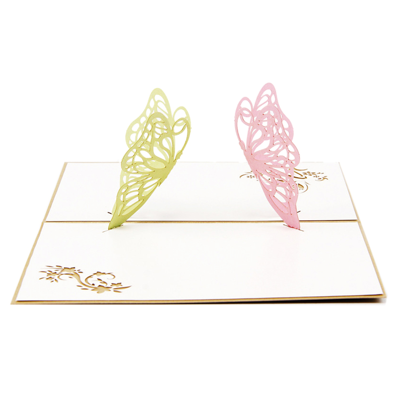 Perfect-3D pop-up birthday greeting card postcard gift card two butterflies