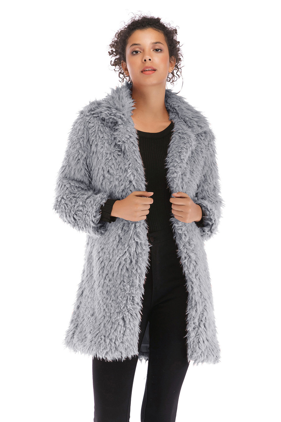 Gladiolus 2018 Women Autumn Winter Coat Turn-Down Collar Long Sleeve Covered Button Long Warm Shaggy Faux Fur Coat Women Jackets (16)
