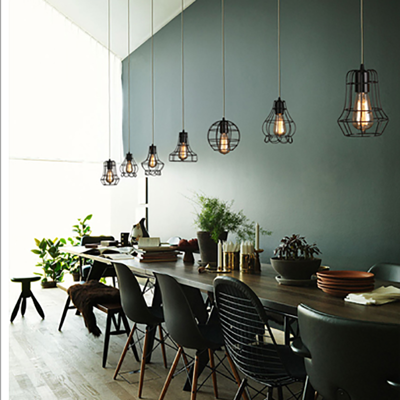 Retro vintage black iron cage pendant lamp cord loft oendant lights retro vintage black iron cage pendant lamp cord loft oendant lights e27 for livingdining roombedroomofficecoffeebarshop in pendant lights from lights mozeypictures Image collections