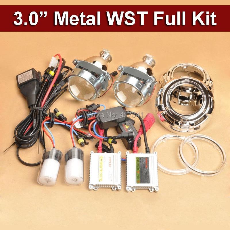 3 pouces métal WST HID Bixenon projecteur lentille Kit complet 35 W H1 lampe xénon Ballast xénon facile à installer LED de phare de voiture ange Eye