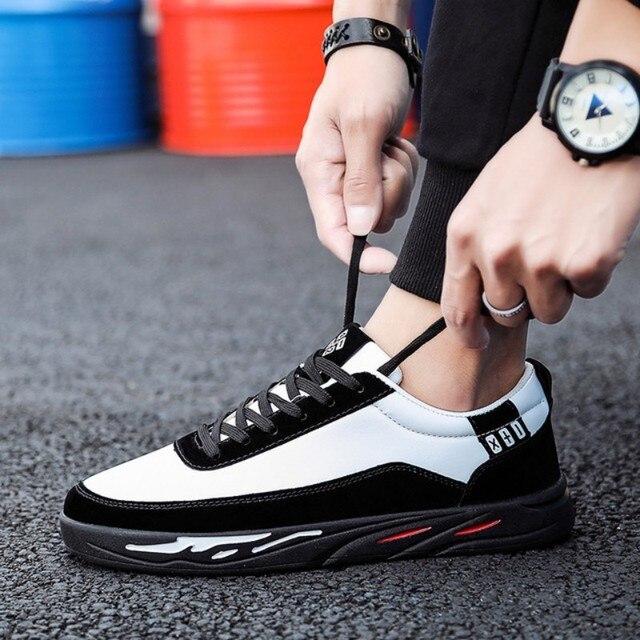 2880f56a 2019 moda stałe kolor mężczyźni buty wulkanizowane Lace-up białe buty na co  dzień mężczyźni Sneakers niskie góry płaskie buty pu mężczyzna tanie obuwie