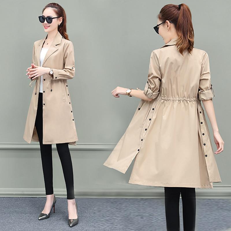 Trench Coat For Women Streetwear Slim Single Breasted Coat Women Long Dark Green Overcoat Manteau Femme Plus Size 3XL