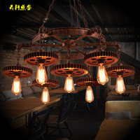 A1 Fashion Loft industrial gear 1st wind creative pendant lights restaurant cafe bar vintage clothing store iron Pendant lamps