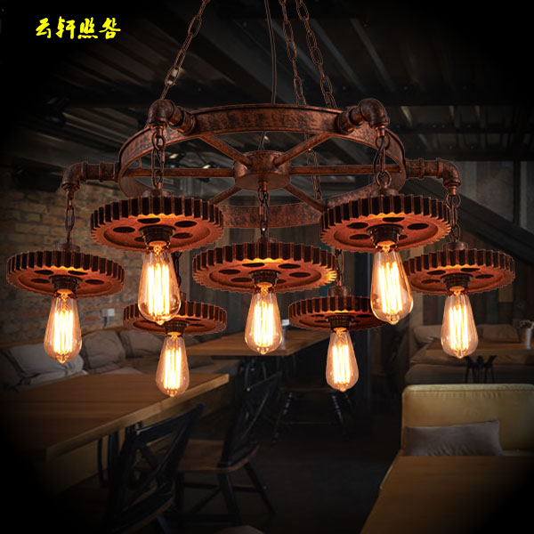 A1 Fashion Loft industrial gear 1st wind creative pendant lights restaurant cafe bar vintage clothing store iron Pendant lamps restaurant bar cafe pendant lights retro hone lighting lamp industrial wind black cage loft iron lanterns pendant lamps za10