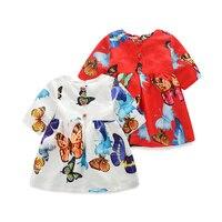 Summer Girls Dress Butterfly Pattern Print Princess Dresses Girls Formal Party Dress Cartoon Kids Clothes