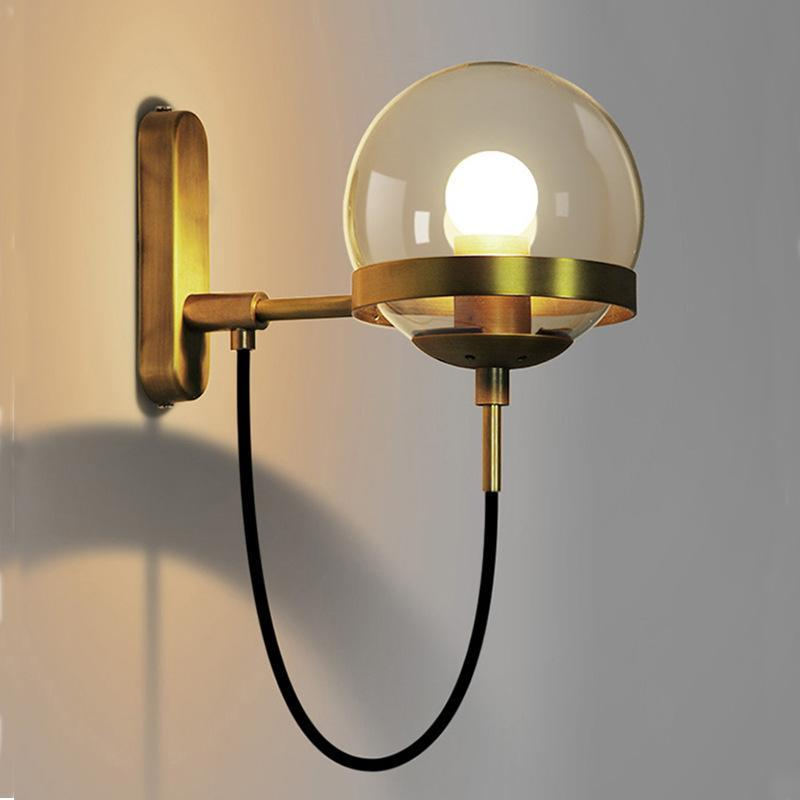 Nordic Wall lamps Modern sconce wall lights Stairway LED Light In Post-modern Retro American Style with Glass Spherical ShapeNordic Wall lamps Modern sconce wall lights Stairway LED Light In Post-modern Retro American Style with Glass Spherical Shape