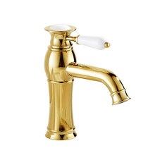 Ванная комната бассейна золотой кран латунь с бриллиантом/кристалл отвод кузова роскошный одной ручкой горячей и холодной кран Z0193