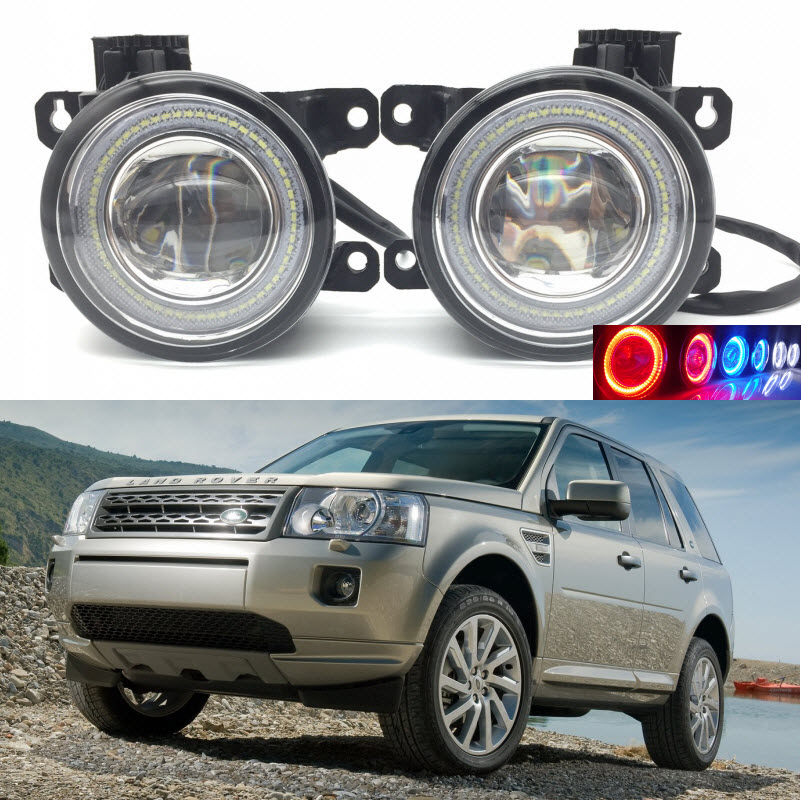 Car Styling 2 in 1 LED Angel Eyes DRL Daytime Running Lights Cut-Line Lens Fog Lamp for Land Rover Freelander LR2 2007-2014 for land rover range rover sport freelander 2 discovery 4 2006 2014 car styling led fog lights lamp crystal blue blue 12v