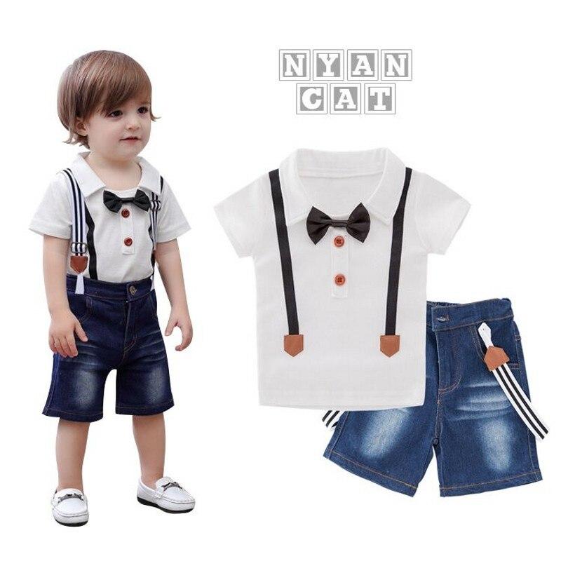 EMS DHL livraison gratuite en gros nouveau costume de loisirs garçon. Ensemble garçon 2 PC T-shirt jarretelle pantalon enfants costume enfant tours costume d'été