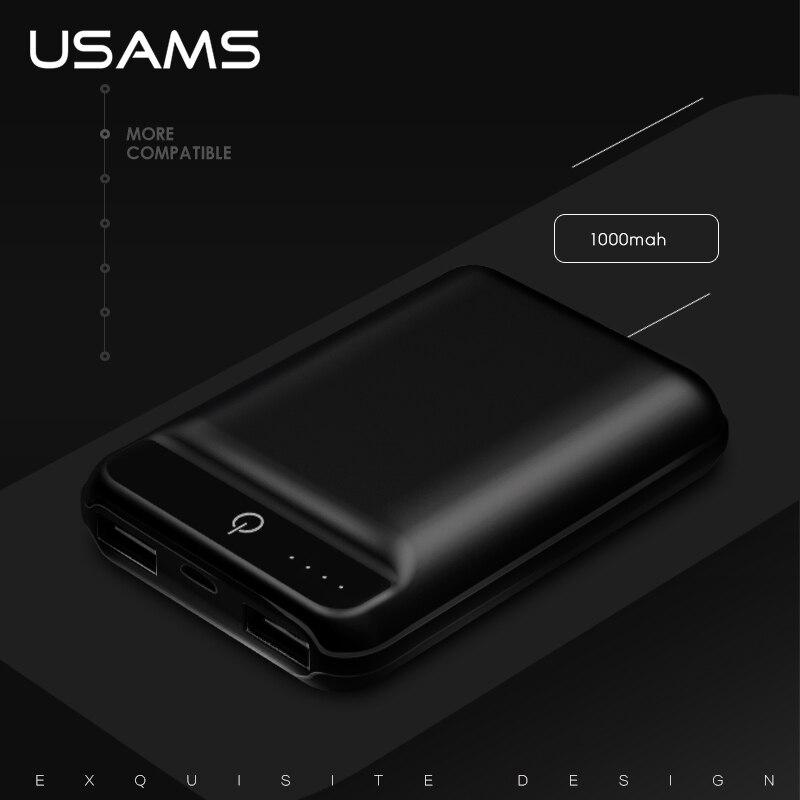 imágenes para USAMS 10000 mAh Banco de la Energía para Xiaomi Dual USB Cargador de Teléfono Móvil de La Batería Externa Portátil Para iPhone Xiaomi Samsung Powerbank