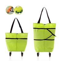 New Foldable Bag Reusable Shopping Basket Mini Trolley Bag Oxford Organizers Bags On Wheels Portable Shopping