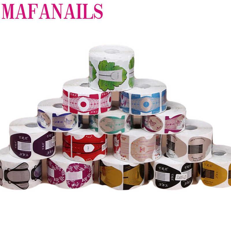 1 Roll (300/500 Pcs) bentuk Kuku Tips Panduan Ekstensi Stiker untuk Acrylic Uv Gel Cat Kuku Yang Berwarna-warni Curl Membentuk Diri Perekat Bentuk