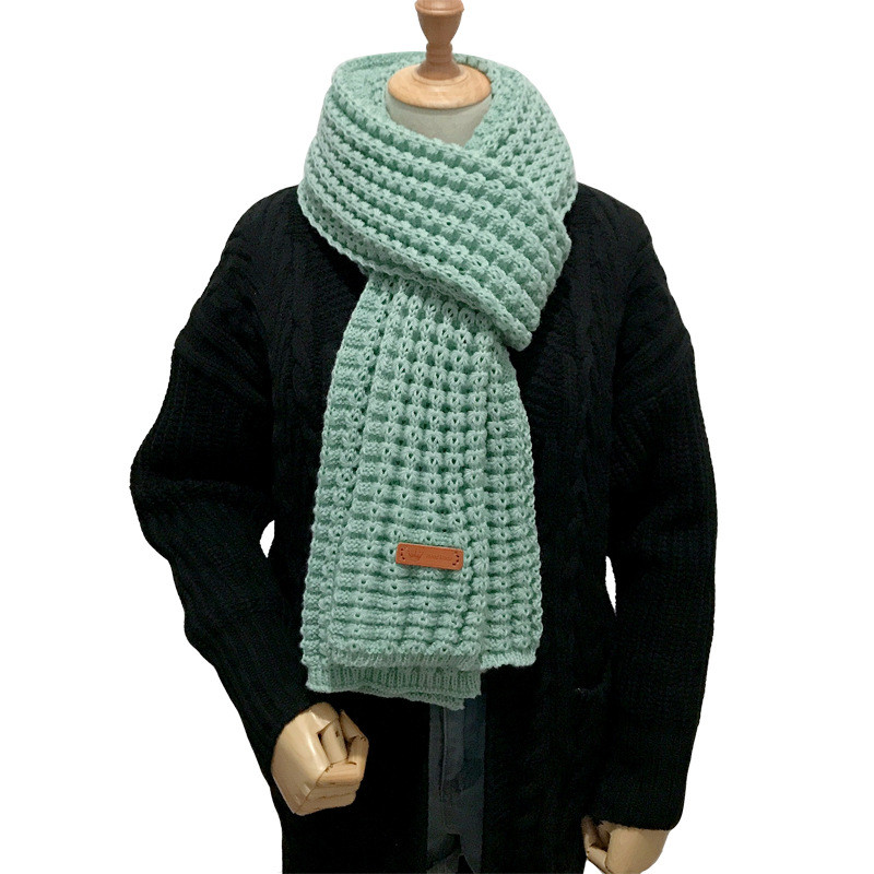 Korean Romantic Thick Winter Knitted Lovers Scarf Green Long Scarves