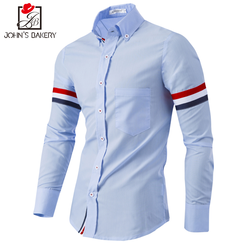 2017 New Fashion Brand Men Shirt Color Stitching Dress Shirt Long Sleeve Slim Fit Camisa Masculina Casual Male Shirts 3 Colors