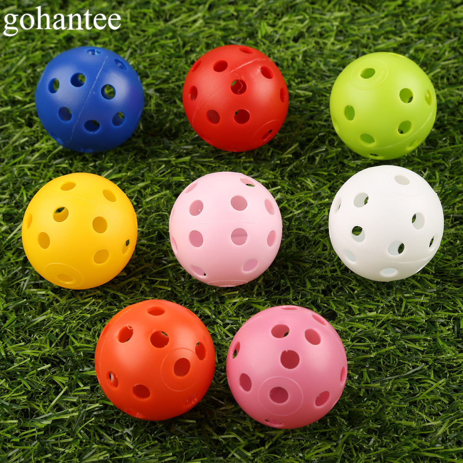 Gohantee 20Pcs 41mm Golf Training Balls Plastic Airflow Hollow With Hole Golf Balls Outdoor Golf Practice Balls Golf Accessories