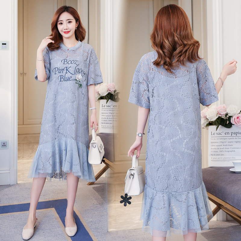 Summer Casual Lace Maternity Dresses Set Hollow out Stylish Clothes for Pregnant Women Korean Pregnancy