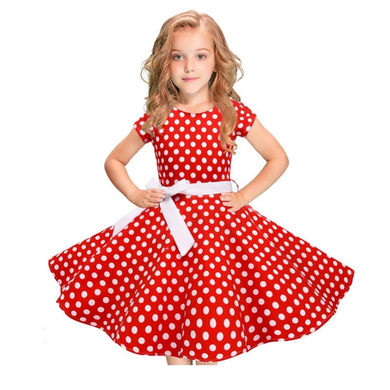 2019 bébé fille robe mode Dot rétro motif été filles enfants robes enfants princesse pour femme enfant vêtements 5-12y vestir