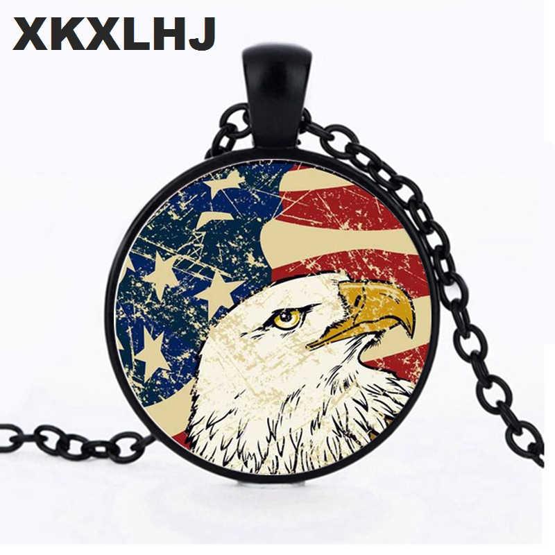Xkxlhj Retro American Flag Waktu Permata Kalung Amerika Serikat Bintang dan Eagle Pola Buatan Tangan Foto Kaca Kristal Liontin Kalung Perhiasan