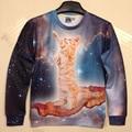 2015 New Fashion Women's 3D Hoodies Funny printed animal Standing cat space galaxy 3d sweatshirts hoody top