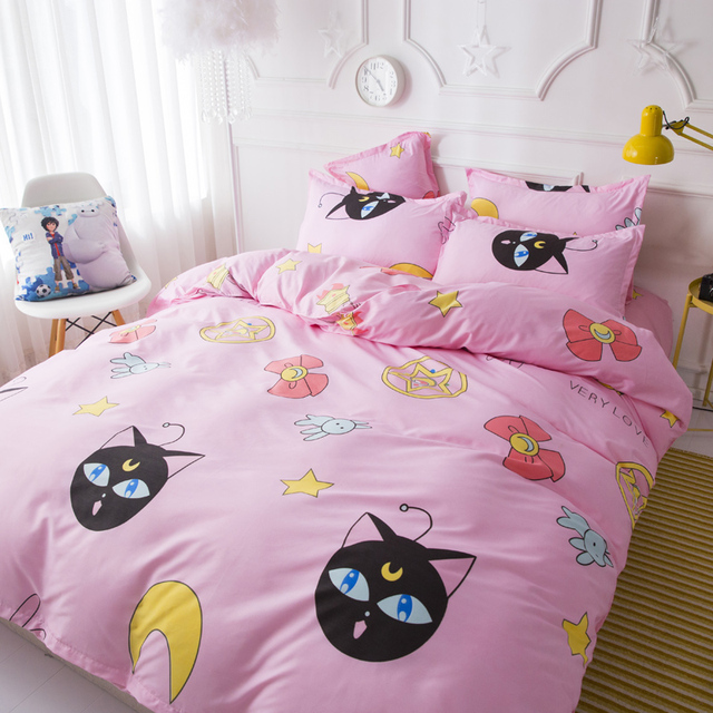 Pink cartoon girl Room Decoration Bedspread Bed Sheet Pillowcase & Duvet Cover Set 3/4pcs Bed Soft comfortable bedding sets