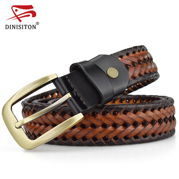 DINISITON  Braided Belt For Mens Woven Belts Luxury Genuine Leather Cow Straps Hand Knitted Designer Men For Jeans Girdle Male
