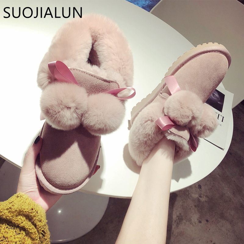 SUOJIALUN Women Snow Boots Warm Winter Boots Female Fashion Women Shoes Faux Suede Ankle Boots For Women Fur Ball Flat Shoes trendy color block and faux fur design women s snow boots