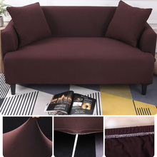 1/2/3/4 Seater Sofa Cover Spandex Modern Elastic Polyester Solid Couch Slipcover Chair Furniture Protector Living Room 6 Colors