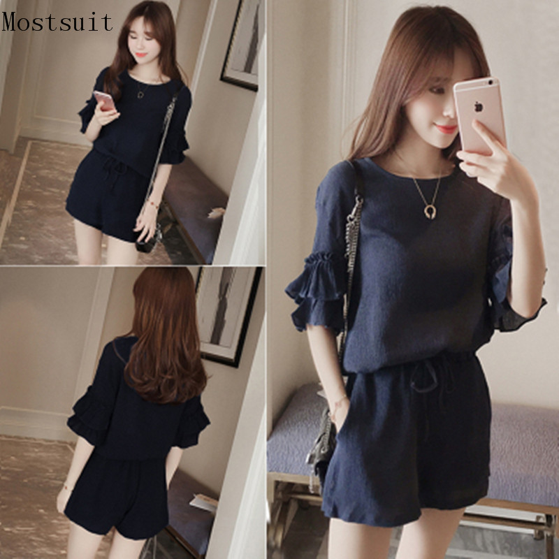 M-4xl 2018 Summer Two Piece Set Women Short Sleeve Tops+shorts Sets Suits Casual Fashion Office Female Set Plus Size Black Navy Price $15.50
