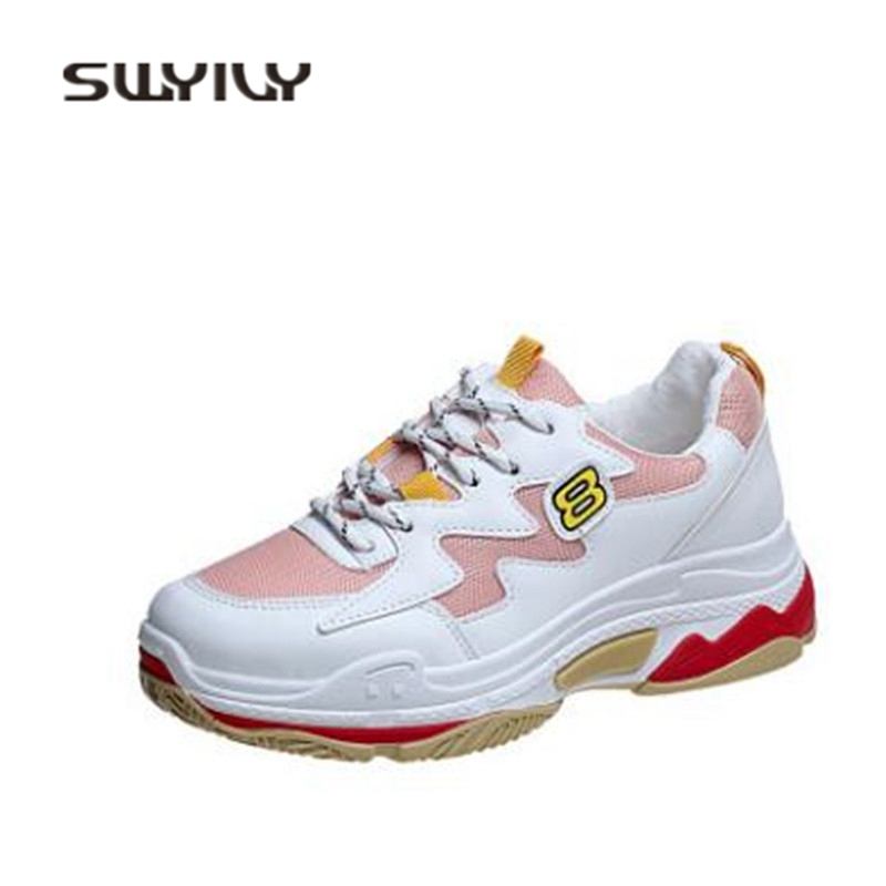 SWYIVY Ladies Sneakers Platform 2018 Spring Wedge Woman Casual Shoes Thick Sole Mesh Breathable Female Leisure Sneakers Shoes swyivy women sports shoes anti slip thick sole running shoes 2018 summer mesh breathable lace up female sneakers comfortable