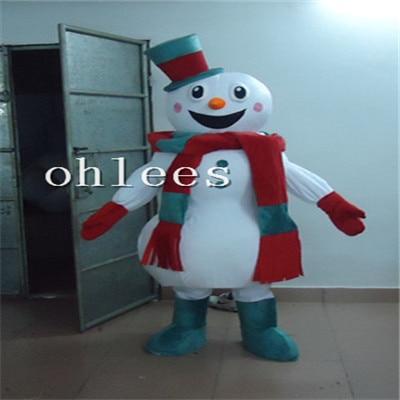 Ohlees santa sneeuwpop hoed sjaal Mascotte Kostuum Halloween kerstfeest Props Kostuums Voor Volwassen cartoon dier aanpassen