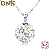 BAMOER Genuine 925 Sterling Silver Forever Love Openwork Heart Shape Pendant Necklaces For Women Luxury Jewelry