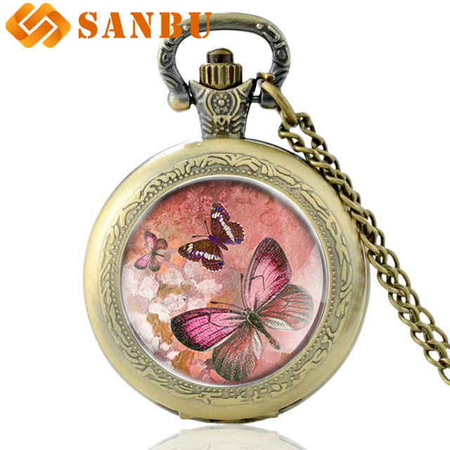 Beautiful Pink Butterfly Charm Necklace Pocket Watch Vintage Men Women Antique J