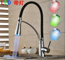 LED kitchen faucet Rotate with Bracket Sink faucet Dual shower head water Modern Finished Pull-out Deck Mounted Mixer tap