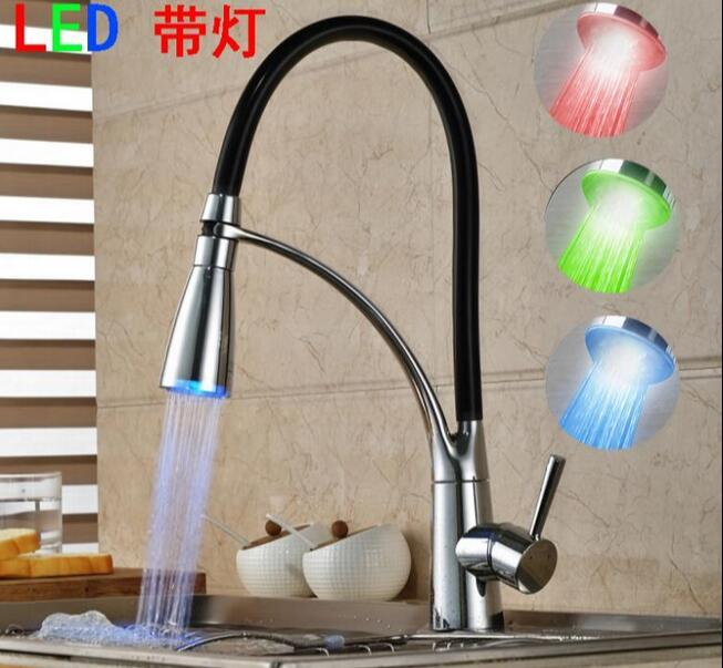 LED kitchen faucet Rotate with Bracket Sink faucet Dual shower head water Modern Finished Pull out