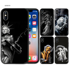 TPU Silicone Case Cover For iPhone X XS XR X 11 11Pro Max 7 8 6 6S 5 5S SE Plus Fundas Capa Cover Marilyn Monroe Tato Case(China)