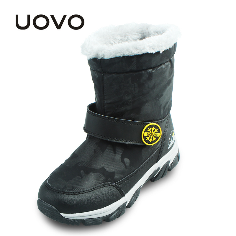 Boys Girls Winter Short Boots Uovo Brand Black Purple Waterproof Mid-Calf Snow Boots Slip-resistant Kids Shoes Children Footwear uovo children winter shoes kids fox fur walking shoes girls snow shoes mid cut footwear for kids winter hiking boots for girls
