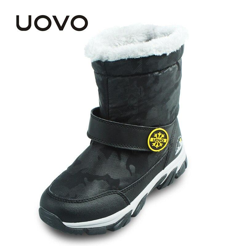 Garçons filles hiver bottes courtes Uovo marque noir violet imperméable mi-mollet bottes de neige antidérapantes enfants chaussures enfants chaussures
