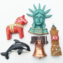 (5 pieces a lot)World travel commemorative resin three - dimensional refrigerator