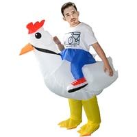 Opblaasbare Kip Kostuum Purim Cock Hen Night Outfit Wit Rooster Volwassen Jurk