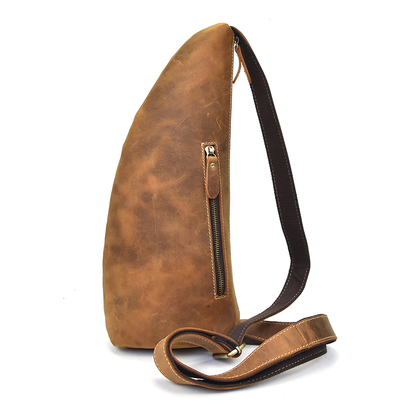 Genuine Leather Bag Strap Brown Sling Men Chest Bag Male Messenger Bags Cell Phone Leather Crossbody